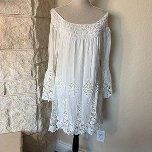 Off-the-shoulder Ivory Crochet Lace Dress